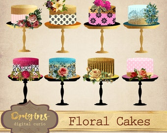 Floral Cake Clipart, Shabby Chic Gold Foil Wedding cake clip art, birthday cakes, baby shower, wedding invitation embellishments digital png