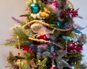 Lighted tabletop Christmas tree, fantasy tree,  artificial Christmas tree, mini Christmas tree
