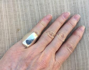 Rectangular Modernist Sterling Ring -- 149