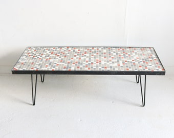 Red/Grey Mosaic Glass Tile Coffee Table