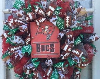 Custom Made Sports Wreath, Deco Mesh Sports Wreath, Sports Deco Mesh Wreaths, Football Team Wreaths