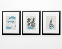 Set Of Three Berlin Prints, 3 Berlin Prints, Vintage Car, Berlin Cityscape, Birthday Gift, Husband Gift, Wife Gift, City Wall Art, Blue