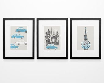 Set Of Three Berlin Prints, 3 Berlin Prints, Vintage Car, Berlin Cityscape, Birthday Gift, Husband Gift, Wife Gift, City Wall Art, Blue