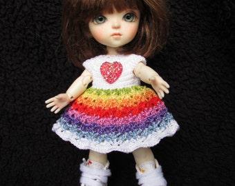 Handmade Crochet PUKIFEE/LATI Yellow Dress - Rainbow Heart Dress with/without Bloomer