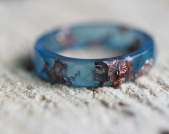 Labradorite Resin Ring Resin faceted stacking ring Copper flakes ring Wedding ring Bohemian ring