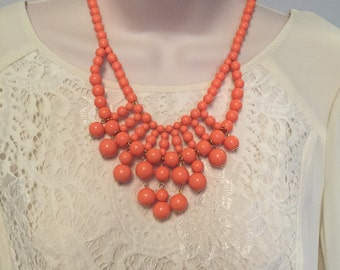 Coral Peach Echo Bubble Bib Beaded Chandelier Statement Necklace