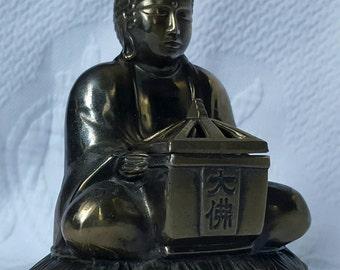 Vintage BUDDHA incense burner,pot metal cast