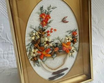 Vintage framed POLISHED STONES Art