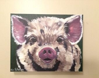 Canvas pig print. Pig art print from original Pig on canvas painting.