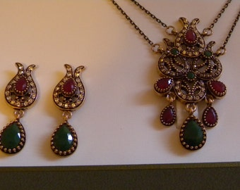 Vintage Ottoman style Antique Gold Faux Ruby and Emerald  Necklace Earrings set