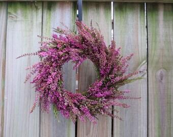 Fresh pink heather wreath - floral handmade wreath