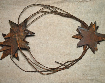 "Rusty Tin 2-1/4"" STAR GARLAND - 6 feet ...  Primitive craft supply,"