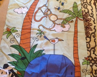 Jungle Theme Fabric Shower Curtain With Matching Hooks
