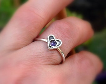 Silver heart ring , Sterling heart stack ring , Purple Ring , Thin heart ring , Any birthstone ring , gift ring , love ring , Heart Jewelry