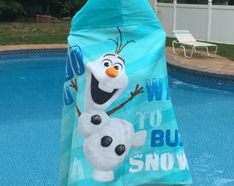 Kids Hooded Beach Towel Wrap FROZEN OLAF - Personalized
