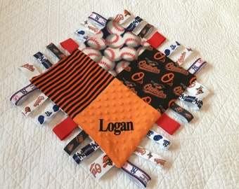 "Baltimore Orioles and New York Yankees Combo Baby Sensory Ribbon Security Blanket Lovey with Tags 16""x16""  MLB BASEBALL Teams"
