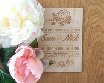 Rustic Wedding invitation, rustic floral design.  Laser Etched Wooden Invitation. A6 size
