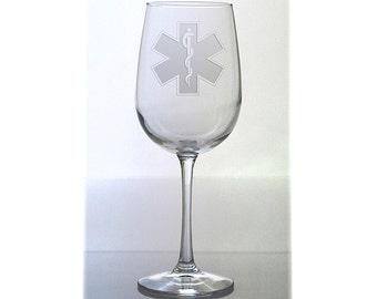 EMS Wine Glass / Emergency Medical Service / Personalized Graduate Gift Free Personalization / 16 oz Wine Glass /  / Personalized Glass