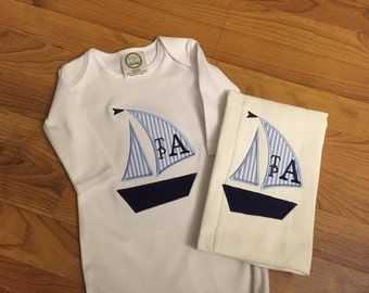 Sailboat infant gown and burp cloth set, babyshower gift set, monogrammed baby gown