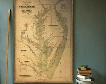 "Chesapeake Bay map 1840 Vintage map of Chesapeake Bay in 6 sizes up to 48x72"" in 1 or 4 parts, also blue - Limited Edition of 100"