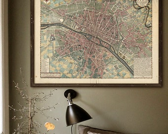 "Paris map 1717, Vintage map of Paris in 3 sizes up to 48x36"" (120x90cm) Large wall map of Paris France, old pink - Limited Edition of 100"