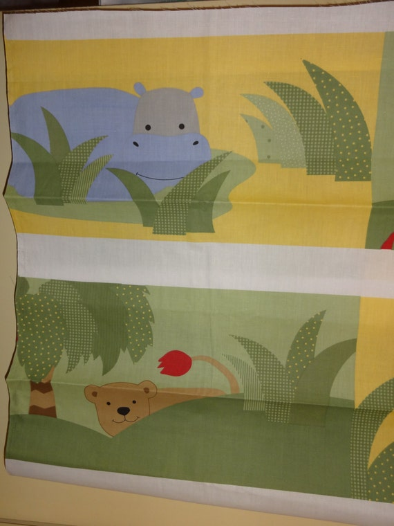 Jungle animals giraffe hippo monkey elephant nursery cotton for Nursery monkey fabric