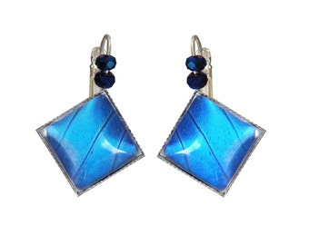"Real butterfly wings ""Blue Square"" earrings"