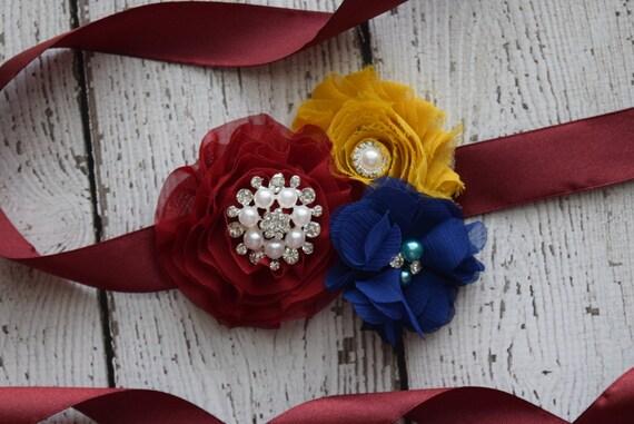 Small Autum Flower Sash, Navy, burgundy and mustard Sash , flower Belt, maternity sash