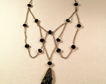 Black and Antique Silver Beaded/Chain/Bib Necklace