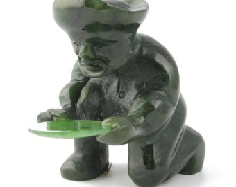 Canadian Nephrite Jade Carving, Gold Panner
