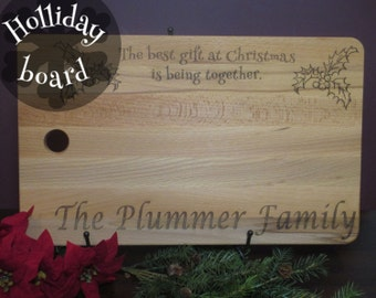 Personalized Christmas cutting board, Custom Christmas last name board, xmas cutting board