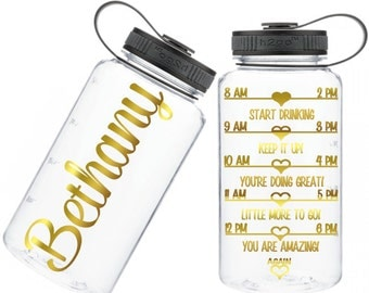 Motivational Water Bottle - best friend gift - unique gift for bridesmaid - team water intake bottle - workout water bottle - 34 oz monogram