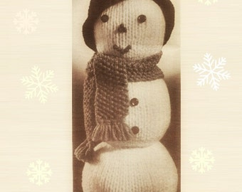 Snowman Pattern Christmas Snowman Pattern Vintage 70s Christmas Decor Pattern KNITTING PATTERN Snowman Ornament Pattern