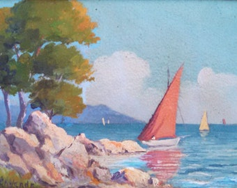 Ile St. Honorat, small oil painting, signed