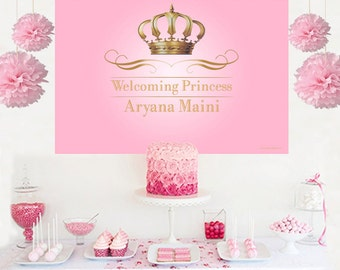 Royal Princess Personalized Backdrop - Pink Birthday Cake Table Backdrop- Gold Crown Backdrop, Royal Baby Shower Backdrop