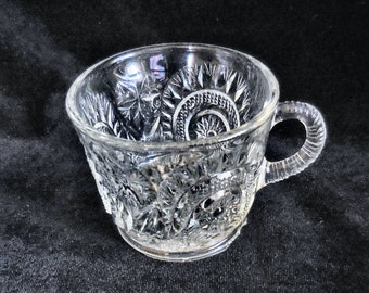 US Glass Pressed Glass Punch cup in the Slewed Horseshoes pattern crca 1890s