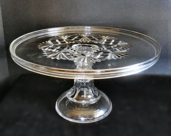 Large Antique Pressed Glass Cake Stand in the Majestic Pattern