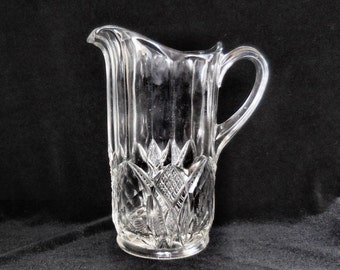 "Duncan Pressed Glass Large Water Pitcher in the ""King Arthur"" circa 1900"