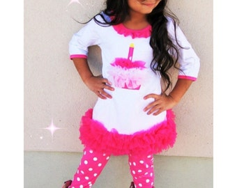 Baby Girls Birthday Outfit / Cupcake Dress with matching leggings
