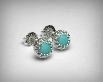 Genuine Turquoise Earrings Studs, Sleeping Beauty Turquoise Earrings, Sterling Silver, Blue Turquoise Stud Earrings, Southwestern Jewelry