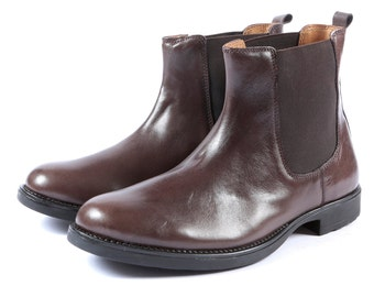 Aspele Mens Brown Leather Chelsea Ankle Boots