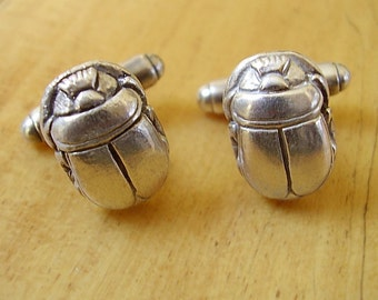 One Pair Sterling Silver Scarab Beetle Cufflinks In Presentation Box