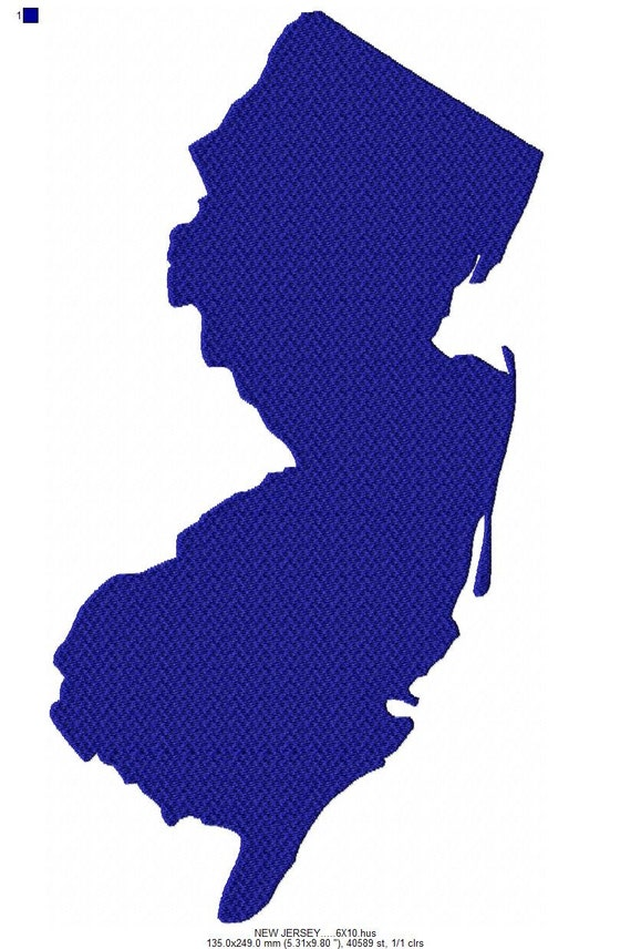 Usa state new jersey solid fill machine embroidery design