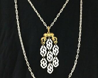 Trifari White Waterfall necklace double strand