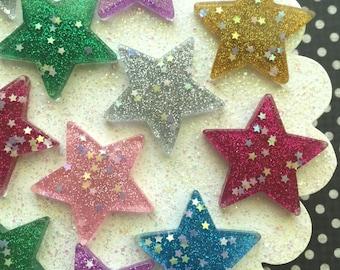 Glitter Resin Star Flat Back Cabochons -Kawaii Decoden Cabochons - Glittery Resin Stars