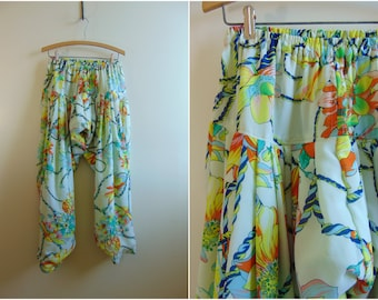 Vintage Harem Pants, Bright & Colorful, Floral Pattern, Women's, Medium