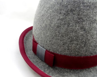 Grey homburg style hat, *SALE* burgundy trim, felt hat, handmade, one of a kind design