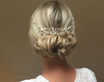 Wedding Hair Accessory, Bridal Hair Adornment, Pearl, Crystal, Hair Vine, Headdress, Hairpiece