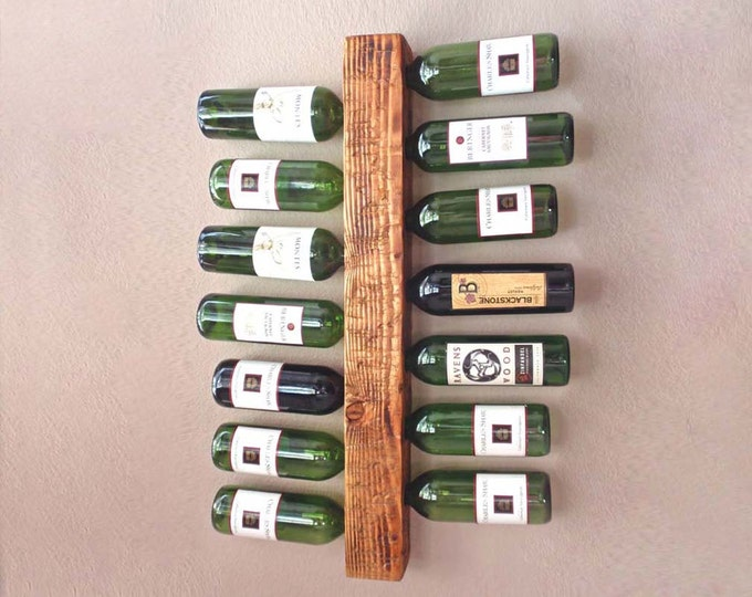 Rustic Wood Wall Wine Rack - Vertical Wine Rack