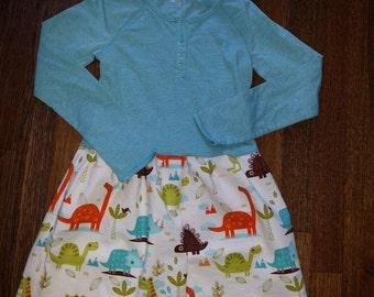 Dinosaur Dress - Long Sleeved Twirly T-shirt Party Dress - size 6